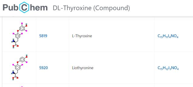 PubChem-thyroxine-liothyronine